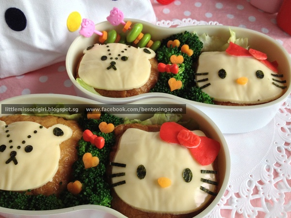 楽しくてお弁当とキャラベン: ハローキティとタイニーチャムのキャラ弁 Hello Kitty & Tiny Chum Bento