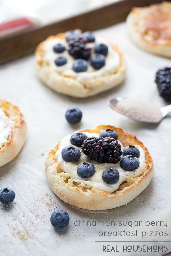 Mix up your breakfast routine with these fun and delicious Cinnamon Sugar Berry Breakfast Pizzas!  They're made on an English muffin, making these super easy to whip up first thing in the morning!