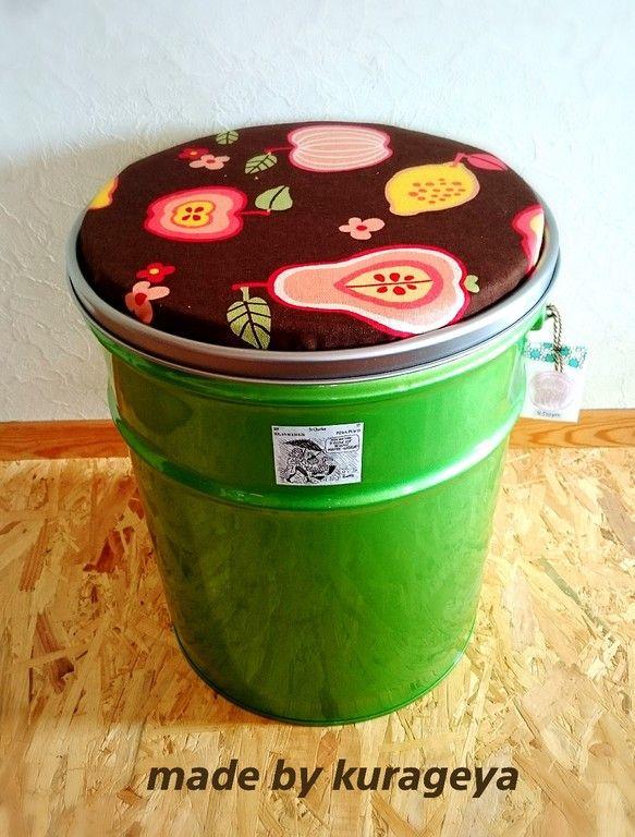 こんなの欲しかったな★カメレオンカラーの収納付き缶チェアー キッチンにオシャレに置いても