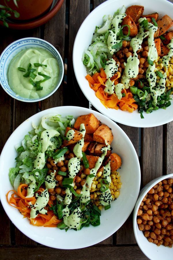 Healthy Veggie Bowls: Roasted Sweet Potatoes and Chick Peas with Stir Fried Napa Cabbage, Corn, Carrots and Scallions with Avocado Dressing. The yummiest and the healthiest veggie bowls. Great make ahead meal. Make your own with vegetables of your choice!