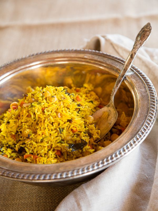Fluffy basmati rice with turmeric & Middle Eastern spices, roasted eggplant and carrot, chickpeas & pine nuts. Fabulous vegan entree or side dish