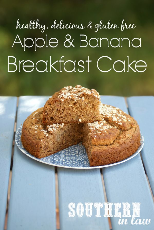 Apple and Banana Breakfast Cake - a healthy breakfast bake recipe that will have you feeling like you are eating cake for breakfast! Gluten free, low fat, sugar free, freezer friendly and so easy to make.