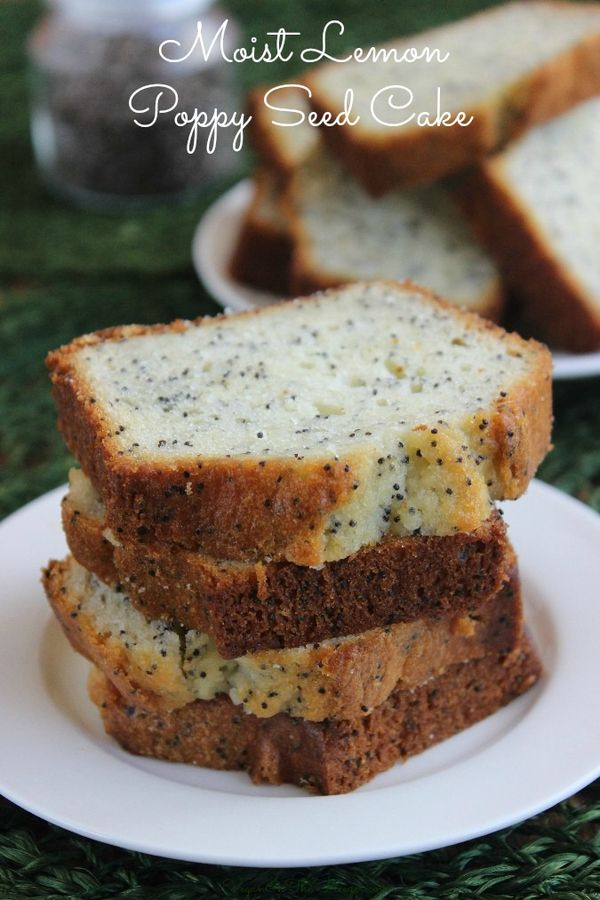 Moist Lemon Poppy Seed Cake has a little zing of sweet lemon freshness. So easy and you only need one bowl. It looks like a bread but tastes like a cake.