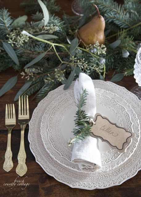French Country Cottage Christmas Home Holiday Decorating dining room kitchen style house Holiday