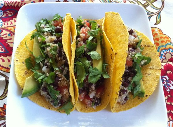 quinoa and adzuki bean tacos... gluten-free and vegan!