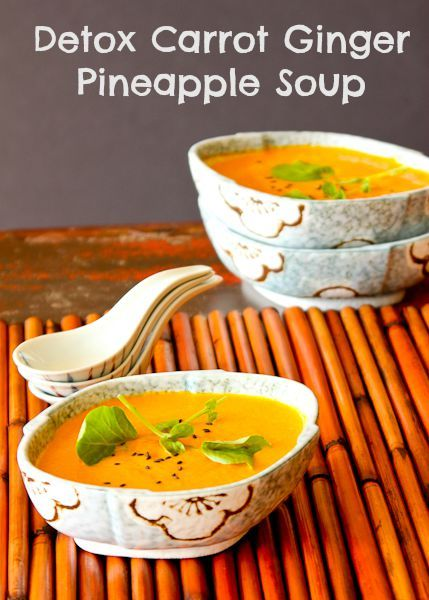 Carrot Ginger Pineapple Detox Soup   ShesCookin.com   Delicious served chilled on these hot summer days! #vegan #gf #dairyfree
