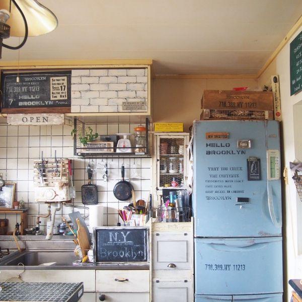 reenaさんの、RC出戻り隊,ブログ更新しました☺︎,めざせN.Yブルックリン,団地,冷蔵庫リメイク,団地リノベーション,団地DIY,キッチン,のお部屋写真