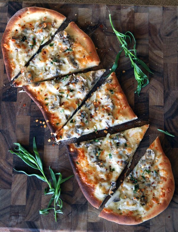 Mushroom, Garlic, and Parmesan Flatbreads    Flat bread pizzas as snacks during the day at the party...easy to make, tons of options at TJ -AM