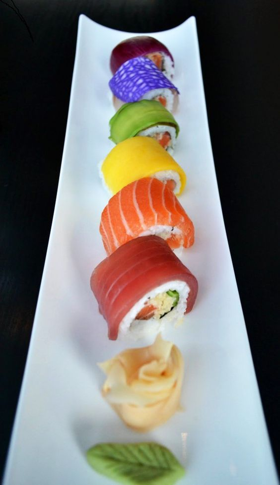 Really Rainbow Sushi. I see tuna, sake, possibly tamago for the yellow, but could also be mango (ooh, that would be good!). I couldn't figure out t… | Pinterest