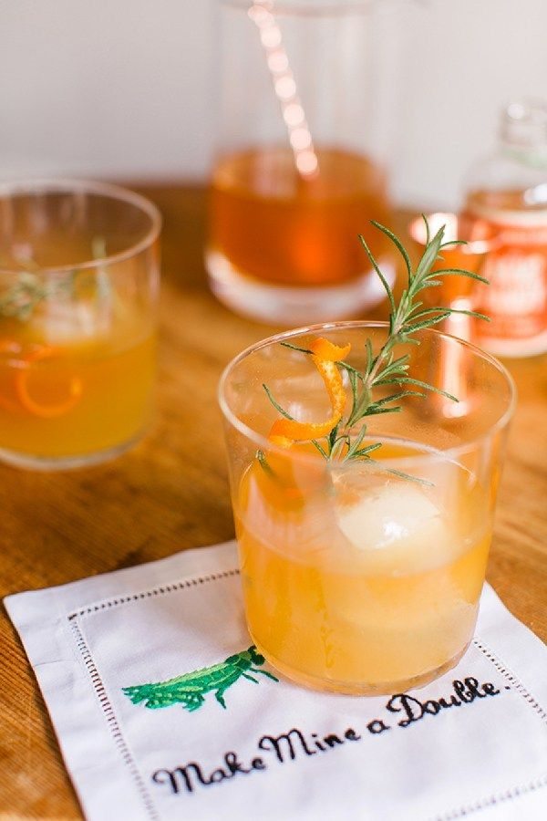 This spiced orange + rosemary bourbon cocktail is always a crowd pleaser.