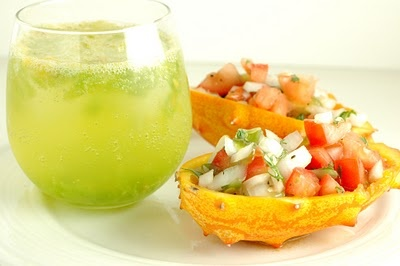 Kiwano drink and salsa