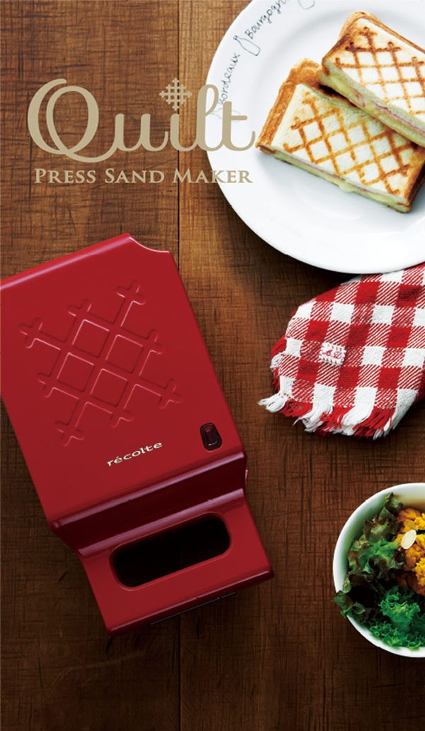 recolte Press Sand Maker Quilt格子三明治機/ 甜心紅 - 日本recolte餐飲用品 | 誠品網路書店