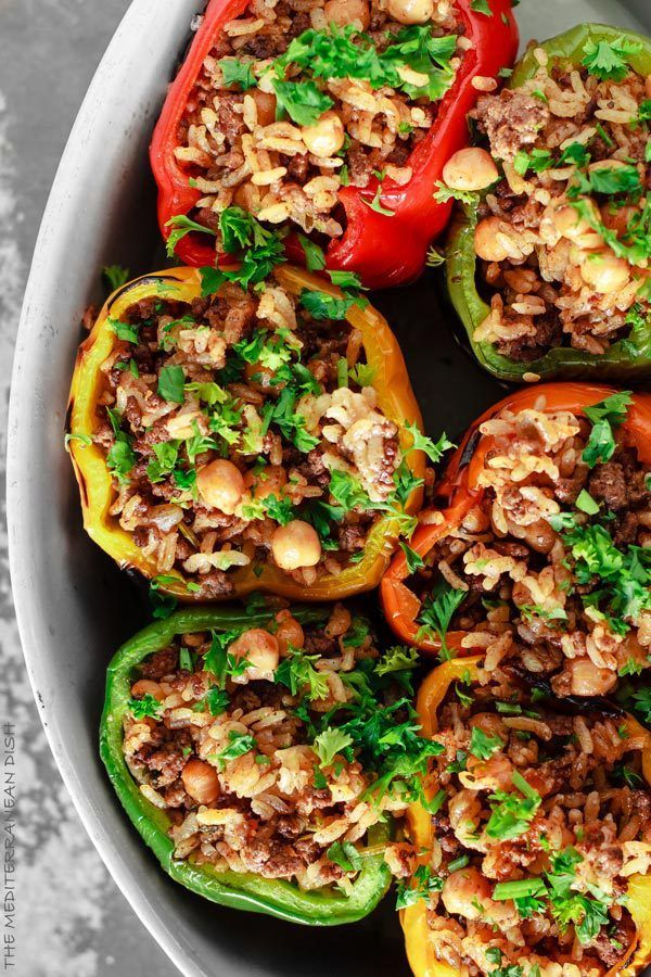 Mediterranean Style Stuffed Peppers - With rice, spiced ground beef and chickpeas.