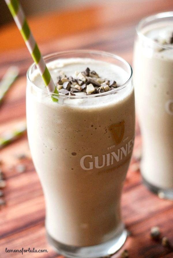 Guinness draught, Bailey's Irish Cream, Creme de Menthe blended with vanilla ice cream! www.lemonsforlulu.com