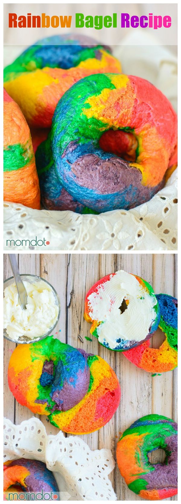 Rainbow Bagel Recipe that will blow your kids mind in the morning. Create Melted Rainbow bagels with this easy to follow recipe tutorial right from your own kitchen .