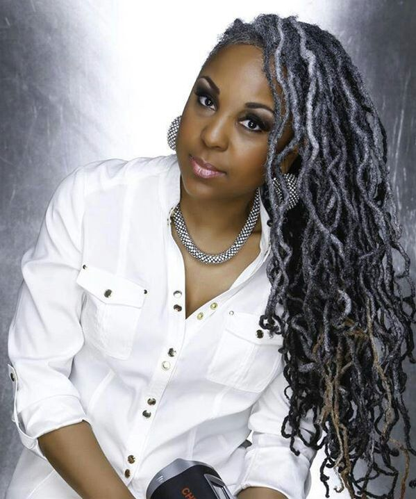 Side-swept grey locs hairstyle