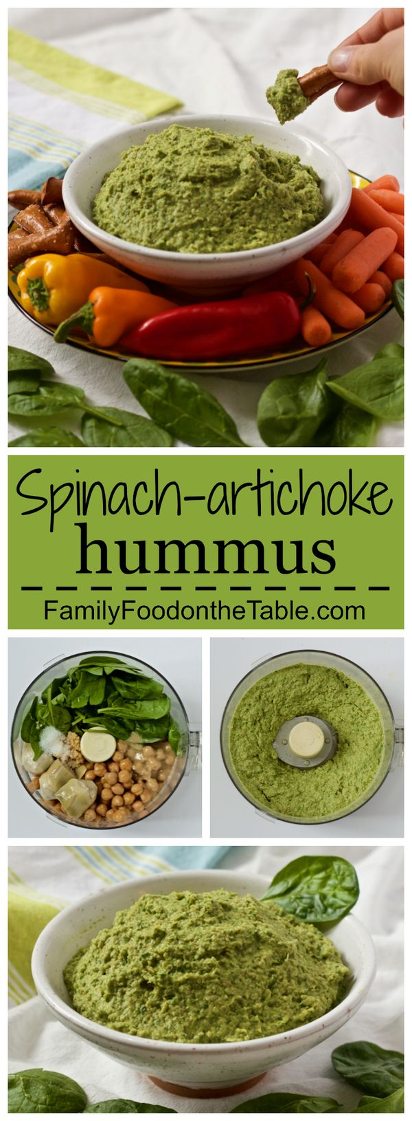 Spinach artichoke hummus - light and creamy! A great appetizer dip or spread for sandwiches and wraps   FamilyFoodontheTable.com
