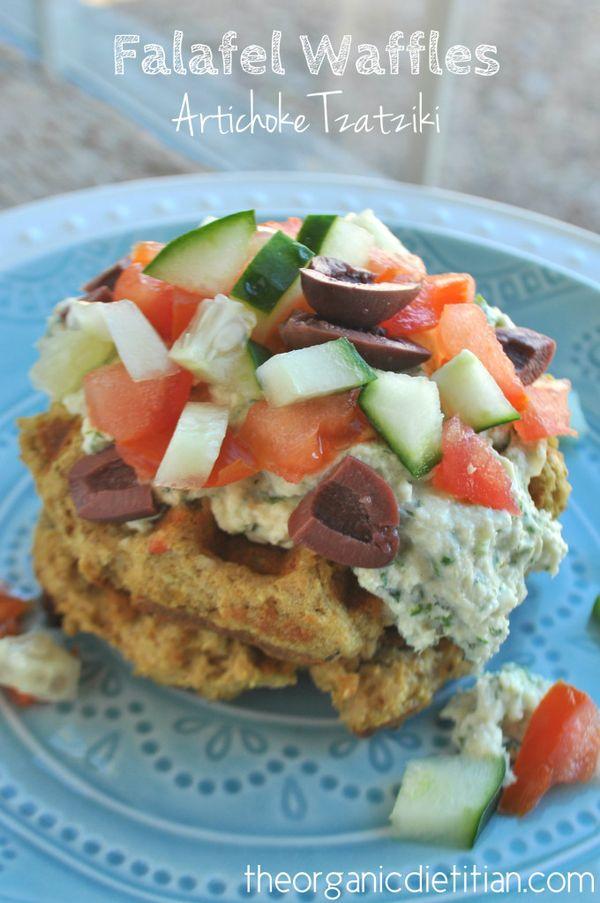 Savory Falafel Waffles with Artichoke Tzatziki, clean recipe, can be vegan and gluten free - The Organic Dietitian