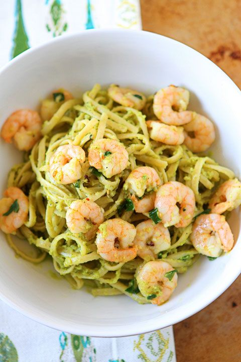 Shrimp Pasta with Parmesean Avocado sauce. Yum!