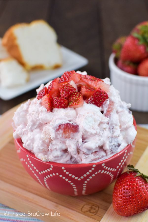 Fresh strawberries and angel food cake make an easy dessert salad that is perfect for any summer picnic.