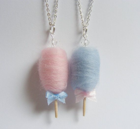 Cotton Candy / Candy Floss Necklace Miniature Food Pendant - Miniature Food Jewelry, Handmade Jewelry Necklace