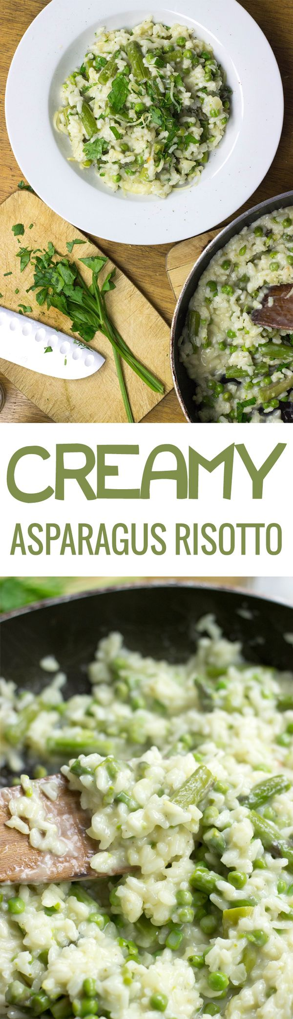 Creamy Asparagus Risotto. Quick to make, so satisfying and tasty to eat. We've also included the key surprisingly easy tips to getting the perfect risotto.| hurrythefoodup.com