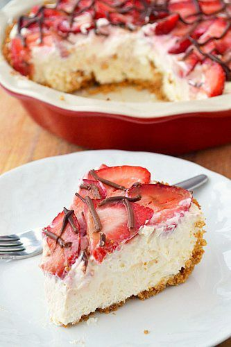 Strawberries & Cream Pie--  recipe is double, for store bought graham half recipe or buy 2 shells : )