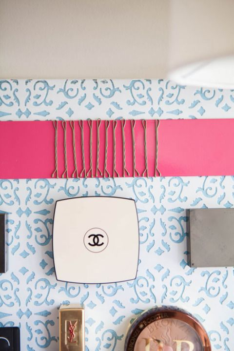 Unconventional Ways to Store Your Makeup - Beauty Product Organization/magnetic strip for bobby pins