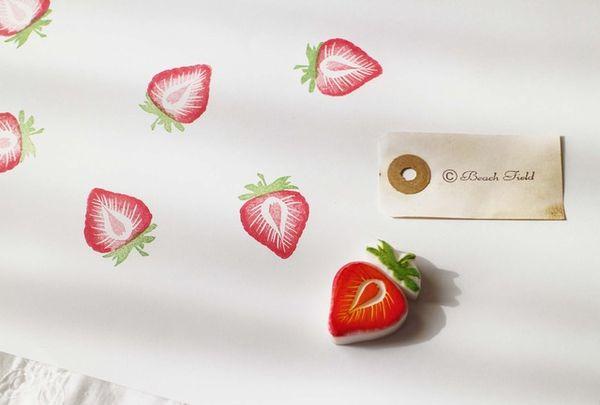 イチゴの多色押し 消しゴムはんこ
