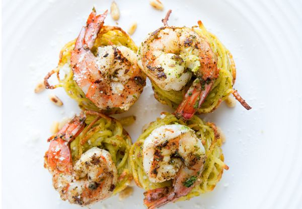 If you'd like to kick your next party up a notch or just want to make dinner at home extra special you need to try my Pasta Nests with Pn Seared Shrimp!