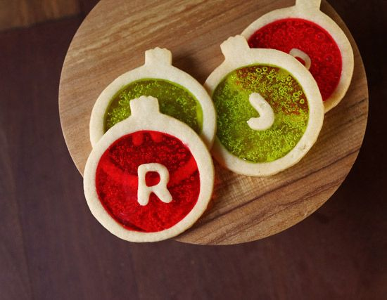 monogrammed stained glass ornament cookies by Marivelous Me. photo by Oh Joy.