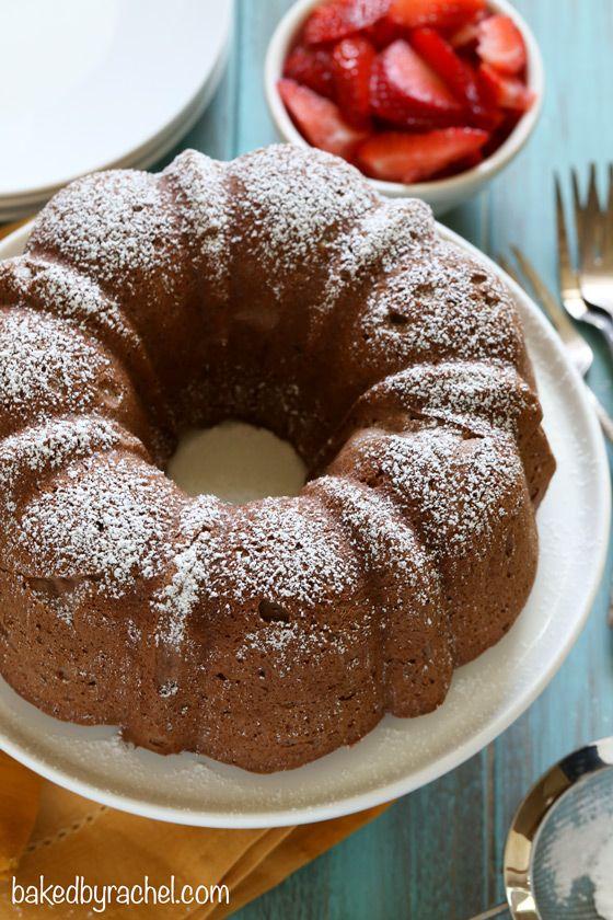 Light and airy chocolate angel food cake recipe from @bakedbyrachel