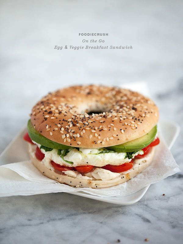 Egg and Vegetable Breakfast Sandwich   27 Healthy Breakfasts Under 400 Calories For When You're In A Rush