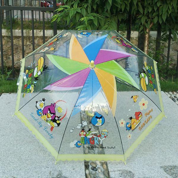 加厚透明伞儿童雨伞小学生伞男女愤怒的小鸟长柄卡通伞宝宝伞包邮