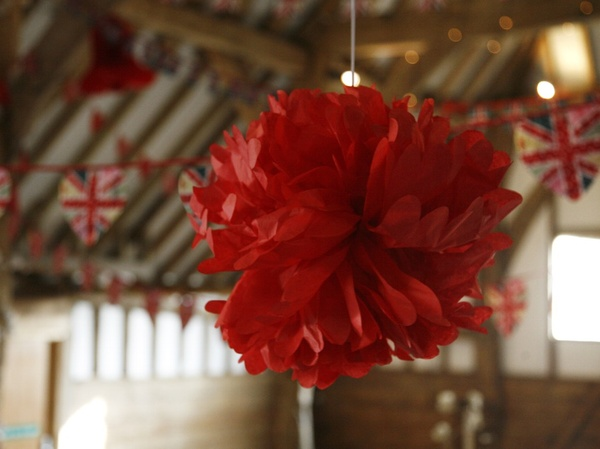 Pom Pom paper hanging decoration in Red £2.45