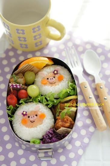 こんにちは今日は、明太子マヨネーズでぶたちゃんのオベントウです。(作ったのは4月になります^^)おにぎりの具をキャラにしてみたかんじです♪ +menu+キャラ…