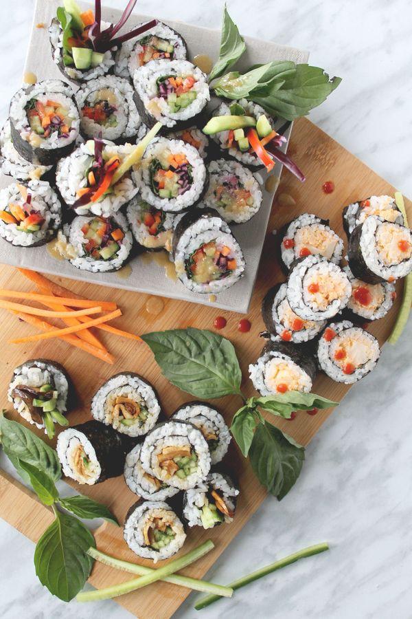 Elva Jane: Vegan Sushi: rainbow roll, spicy cauli, teriyaki mushroom #kombuchaguru #rawfood Also check out: http://kombuchaguru.com
