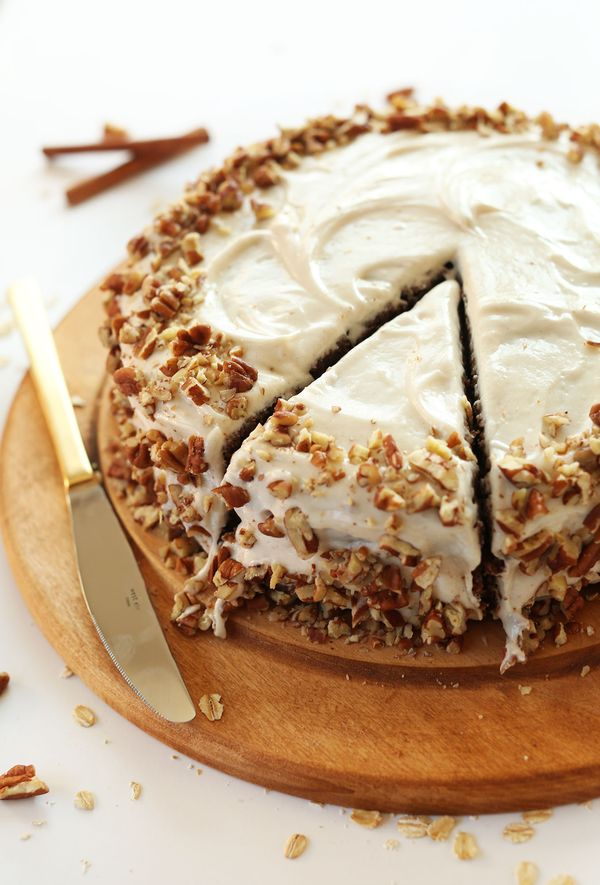 Apple Gingerbread Cake with Vegan Cream Cheese Frosting! 1 bowl, easy and SO tasty! Frosting calls for vegan cream cheese and vegan butter sticks.