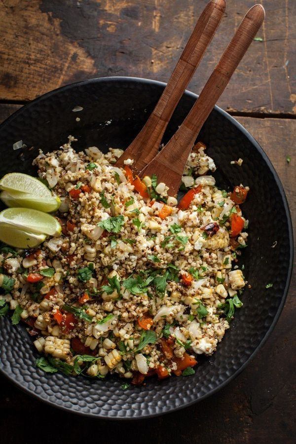 Three-Grain, Grilled Vegetable  Feta Salad #recipe