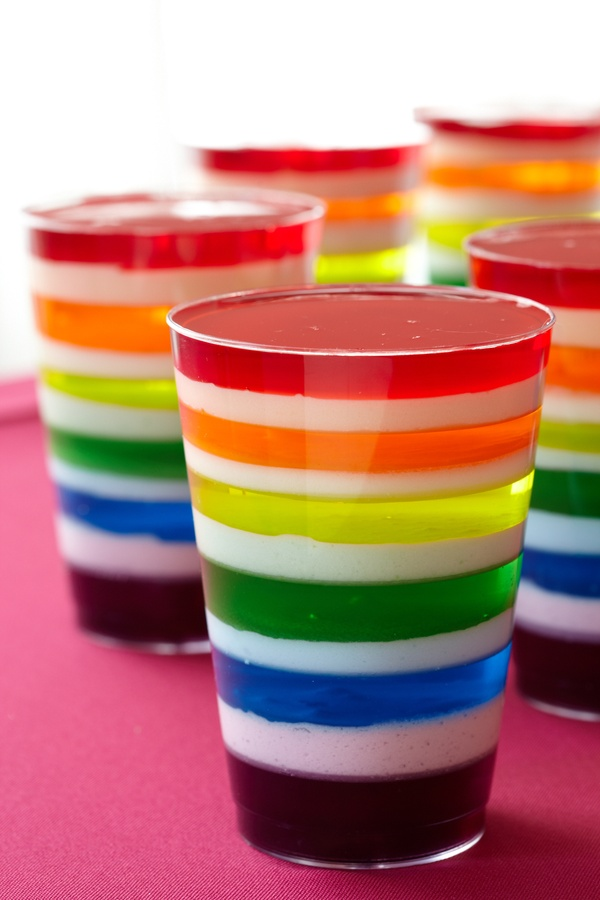 Gelatin Dessert Rainbow. Serve a rainbow-layered gelatin treat with apricot, berry blue, cherry, grape, lemon and lime flavors.