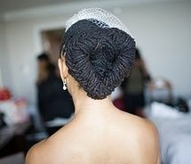 Formal heart-shaped chignon locs hairstyle