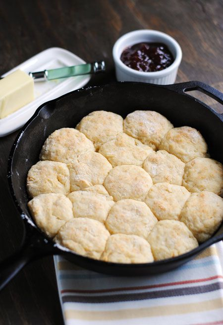 Skillet Buttermilk Biscuits - tiny, buttery biscuits baked in a cast-iron skillet!