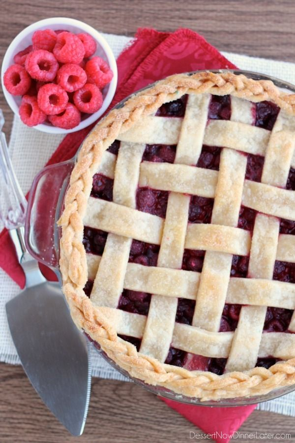 Homemade pie crust can be lots of fun to play with! This Lattice Pie Crust Tutorial shows you how to weave your crust with a bonus braided edge for a stunning holiday pie! From DessertNowDinnerLater.com