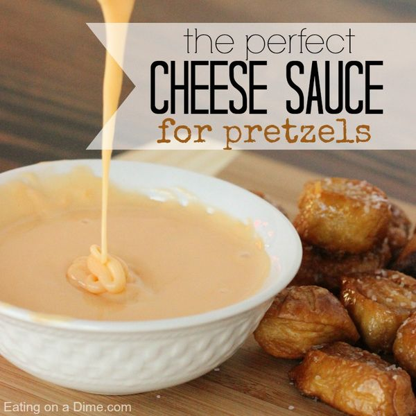 Best Recipe for Cheese Sauce for Pretzels - only two ingredients to make this cheese - perfect for dipping your soft pretzels.