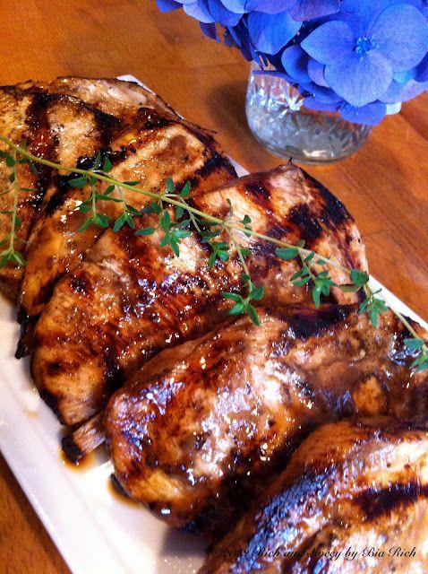 Balsamic Marinated Grilled Chicken ~ 4 chicken cutlets, sliced in half if very thick    marinade:  1/4 cup balsamic vinegar  2 tablespoons dijon mustard  1 teaspoon dried fine herbs  1 teaspoon salt  1 teaspoon pepper  1/2 cup olive oil