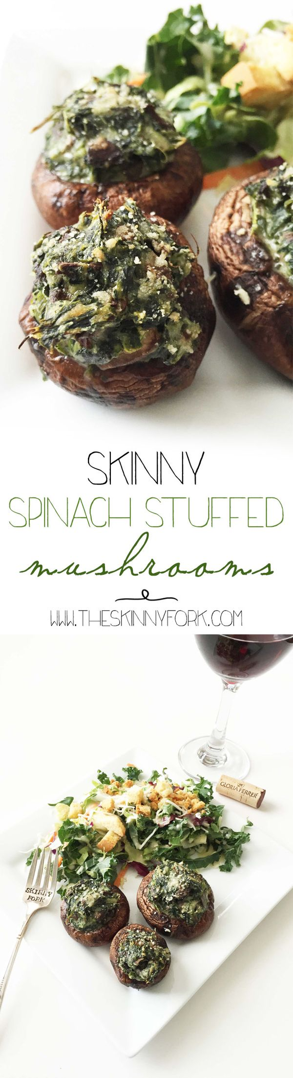 Looking for a lighter holiday party appetizer? Try these Skinny Spinach Stuffed Mushrooms! Cheesy, light, easy to make, and yes... cooked in red wine! TheSkinnyFork.com