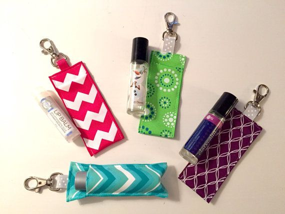 Roller Bottle Key Chain Carry Case - Essential Oil Pouch - Lip Gloss Case - Zip Drive Case - Ear Bud Pouch - USB Drive Carrier