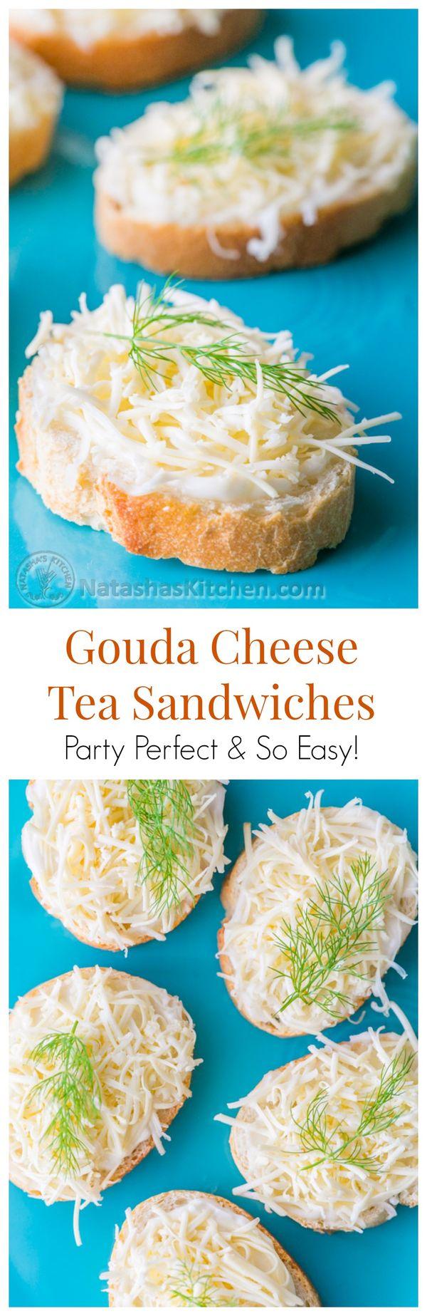 Gouda Cheese Tea Sandwiches (Only 4 ingredients!) Keep this recipe in your party arsenal! | @natashaskitchen