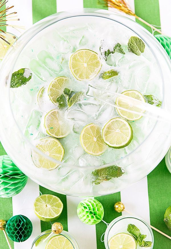 St. Patrick's Day Mojito Sherbet Punch Recipe @FoodBlogs