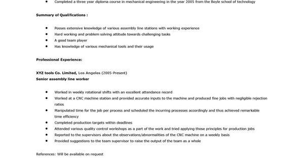 Assembly Line Worker Resume Warehouse Worker Resume Sample